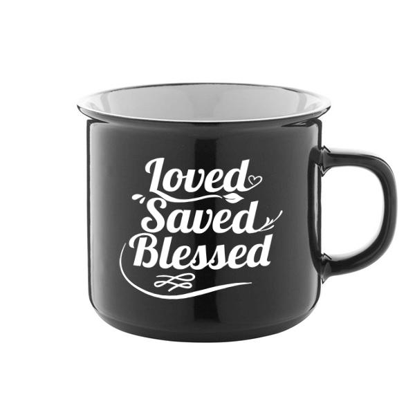 Igés bögre - Loved Saved Blessed (fekete)