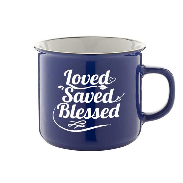 Igés bögre - Loved Saved Blessed (kék)
