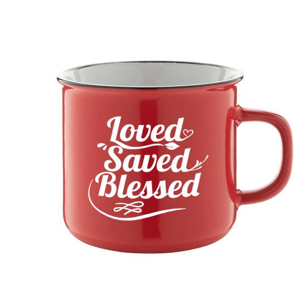 Igés bögre - Loved Saved Blessed (piros)