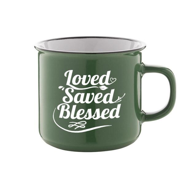 Igés bögre - Loved Saved Blessed (zöld)