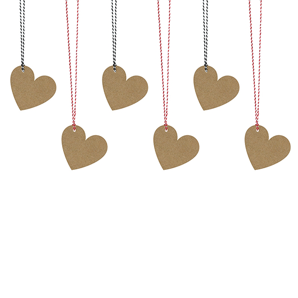 Ajándékcímke (6 db) – szív, barna