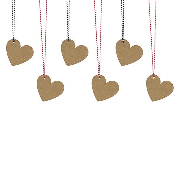 Ajándékcímke (6 db) - szív, barna