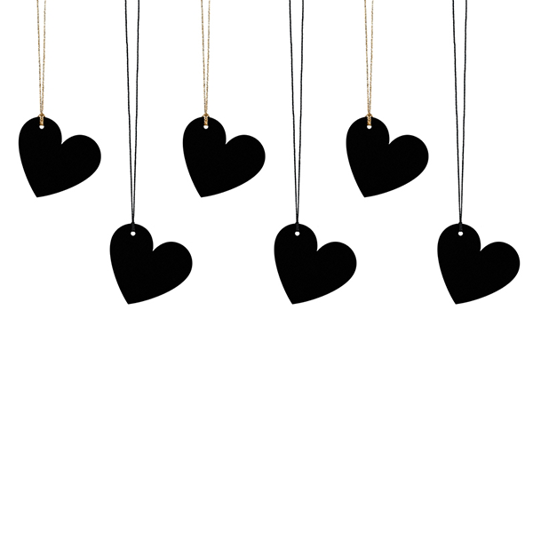 Ajándékcímke (6 db) - szív, fekete