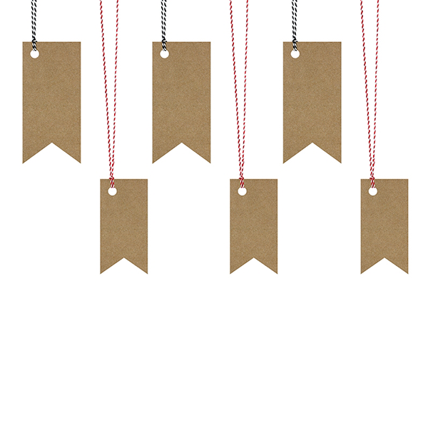 Ajándékcímke (6 db) – zászló, barna