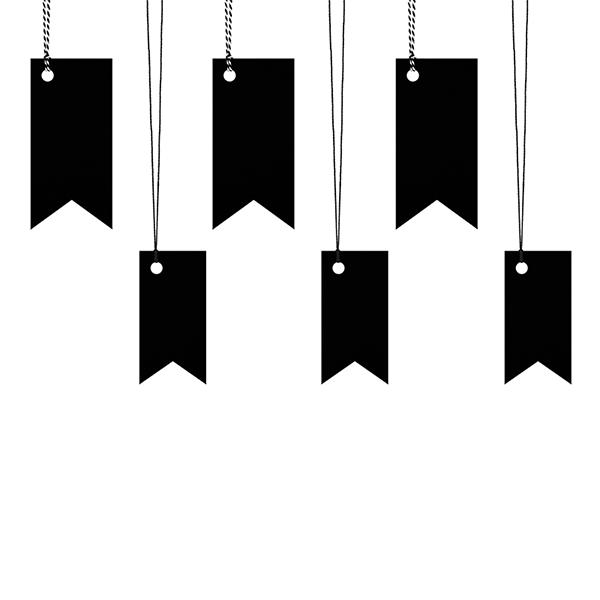 Ajándékcímke (6 db) - zászló, fekete