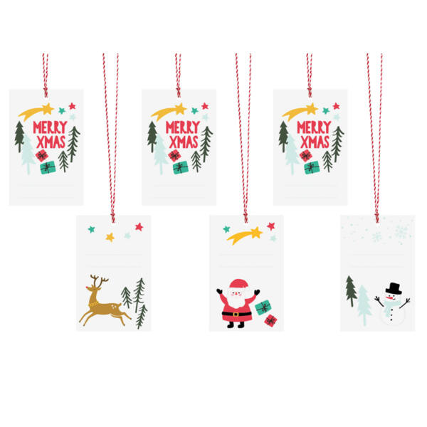 Karácsonyi ajándékcímke (6 db) – Merry Xmas