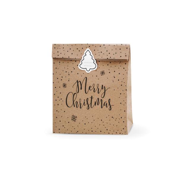 Karácsonyi ajándéktasak (3 db) - Merry Christmas, barna