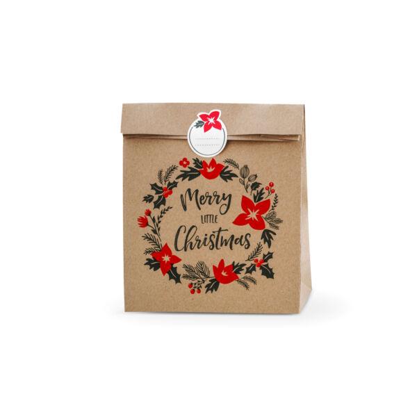 Karácsonyi ajándéktasak (3 db) – Merry Christmas koszorú, barna