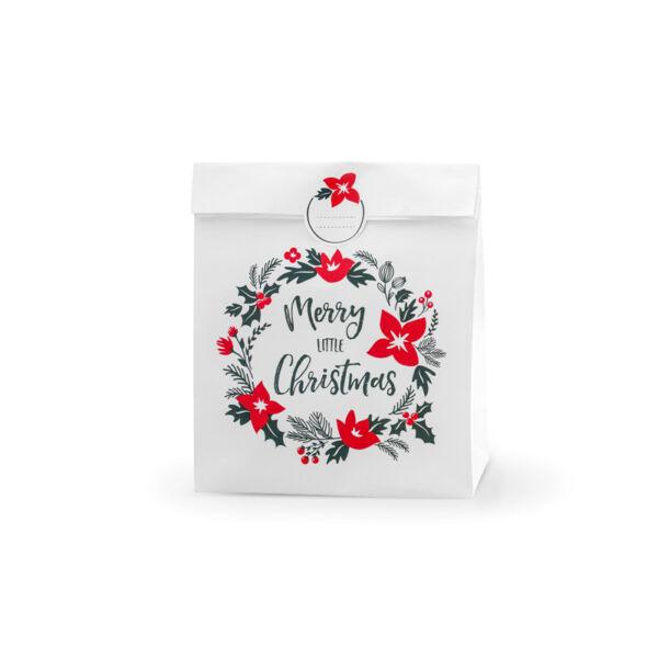 Karácsonyi ajándéktasak (3 db) – Merry Christmas koszorú, fehér