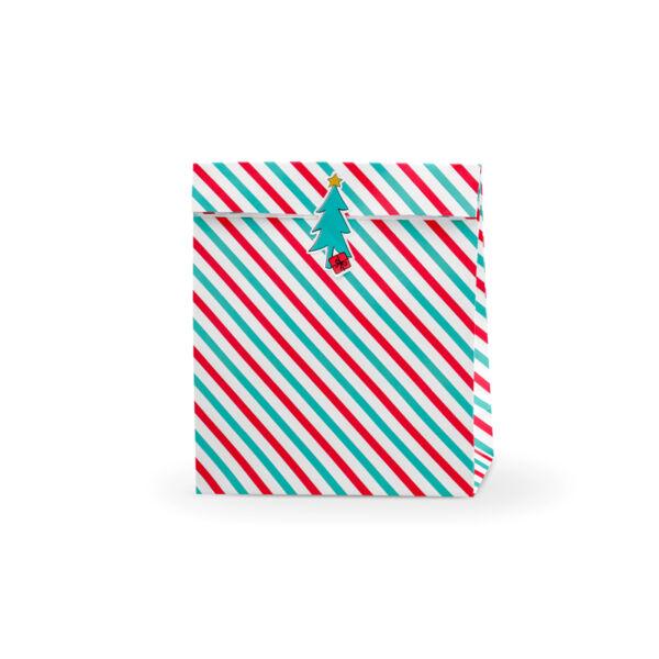 Karácsonyi ajándéktasak (3 db) - piros és zöld csíkos