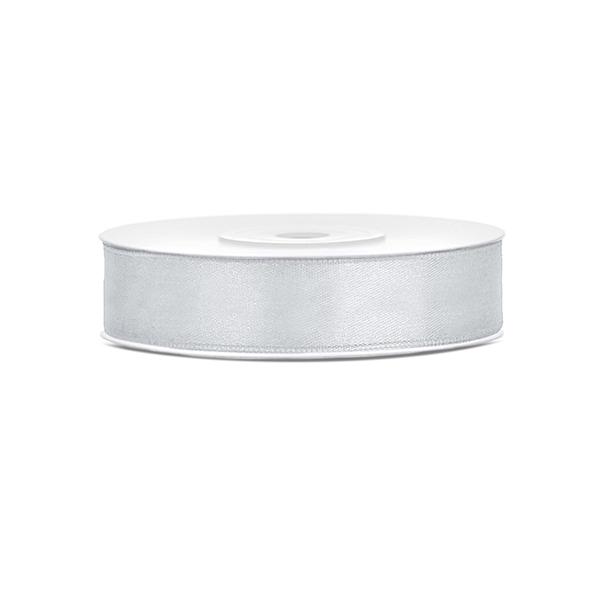 Szatén szalag (12 mm x 25 m) - ezüst