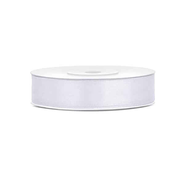 Szatén szalag (12 mm x 25 m) - fehér