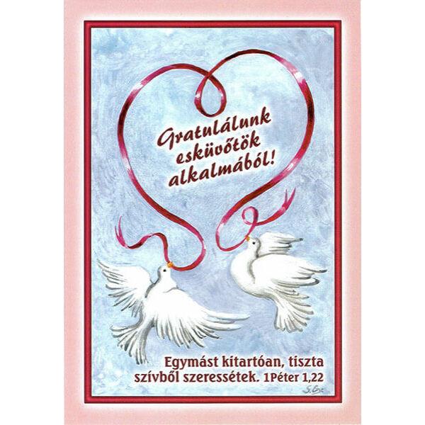 Esküvői borítékos képeslap - Egymást tiszta szívből szeressétek