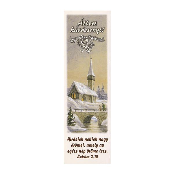 Karácsonyi könyvjelző – Hirdetek nektek nagy örömet (fehér)