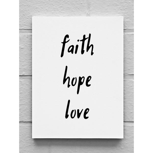 Vászonkép – Faith hope love (15 x 20 cm)