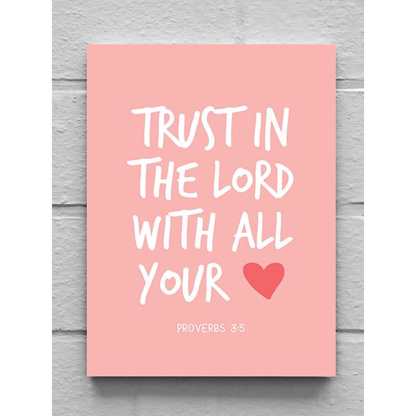 Vászonkép – Trust in the lord (rózsaszín) (15 x 20 cm)