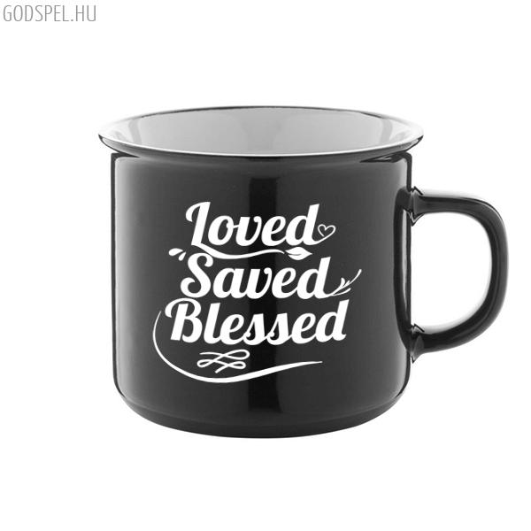 Bögre – Loved Saved Blessed (fekete)