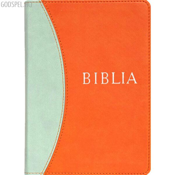 Biblia - revideált új fordítás, narancs-kék, puhatáblás, közepes