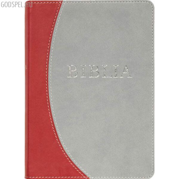 Biblia - revideált új fordítás, szürke-bordó, puhatáblás, közepes