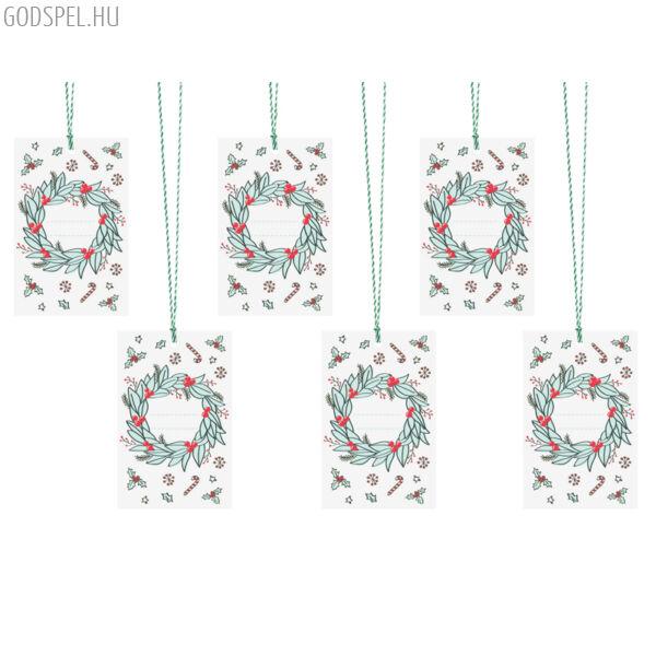 Karácsonyi ajándékcímke (6 db) – koszorú