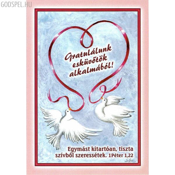 Esküvői borítékos képeslap – Egymást tiszta szívből szeressétek