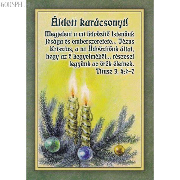 Karácsonyi képeslap - Megjelent a mi üdvözítő Istenünk