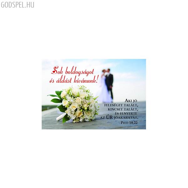 Esküvői igés kártya - Aki jó feleséget talált