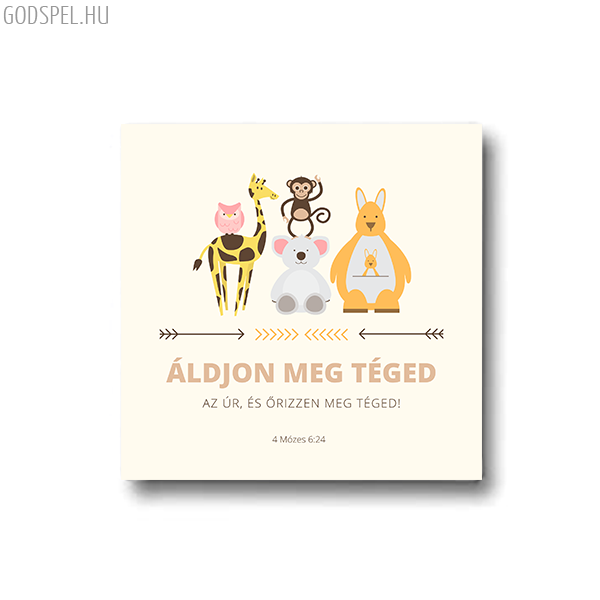 Vászonkép – Áldjon meg téged az Úr (állatok) (25 x 25 cm)